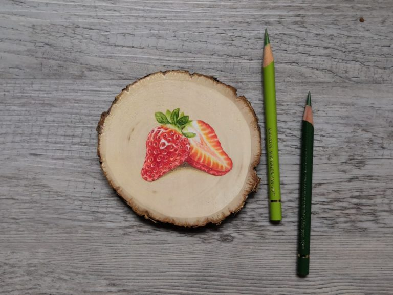 DRAWING ON WOOD WITH COLORED PENCIL
